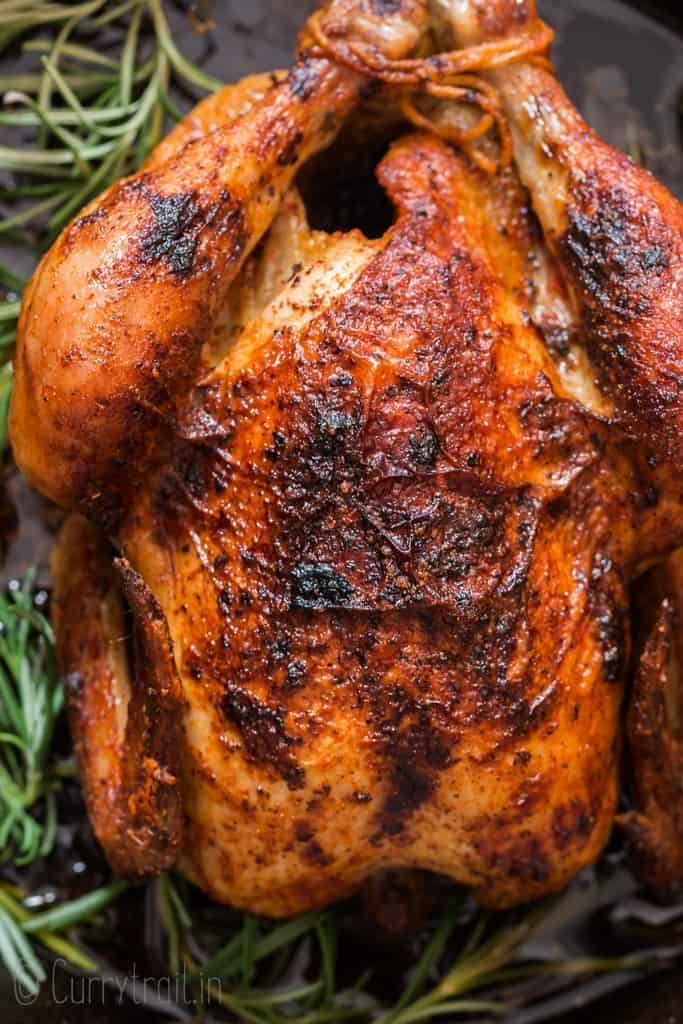 brined and roasted whole chicken