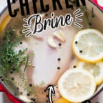 whole chicken in brine to get juicy tender chicken roast with text