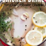 whole chicken in a pot of brine with text
