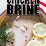brine chicken for juicy roast chicken with text