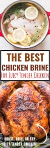 juicy whole chicken brine with text overlay
