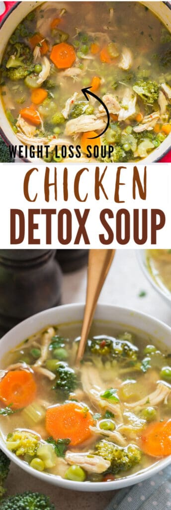 chicken detox soup in soup pot with text overlay