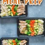chicken brown rice meal prep in boxes with text