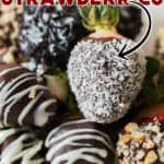 chocolate covered strawberries with text overlay