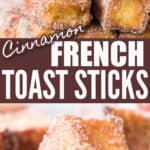 cinnamon French toast sticks served with maple syrup with text