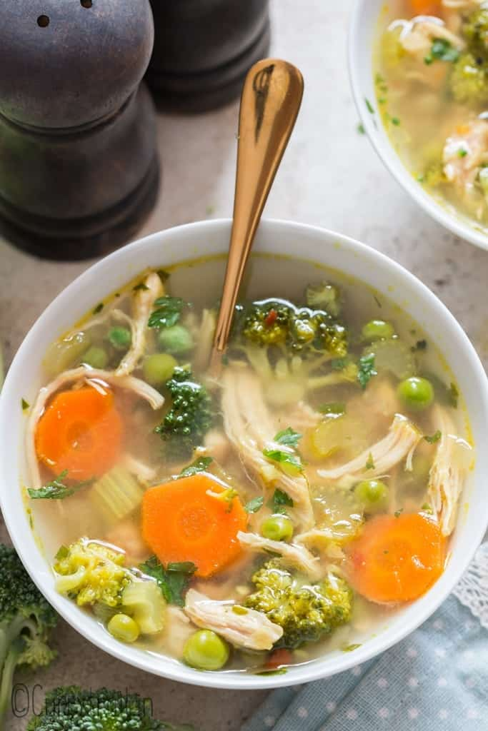 chicken detox soup in soup bowls