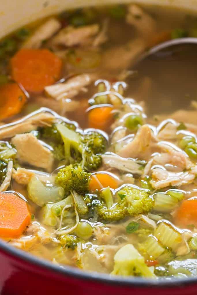 chicken detox soup in soup pot