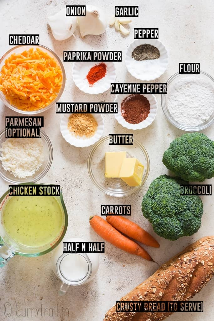 ingredients for broccoli and cheddar soup spread on white board