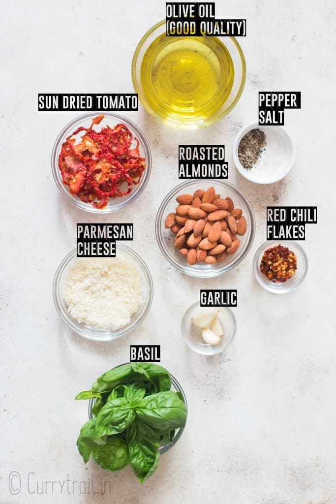 ingredients for sun dried tomato pesto sauce