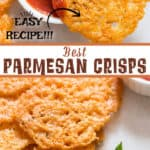Parmesan crisps served with spicy marinara sauce on white ceramic plate with text