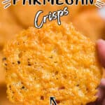 baked crisps made of Parmesan cheese with text overlay