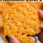 holding a baked Parmesan crisps with text