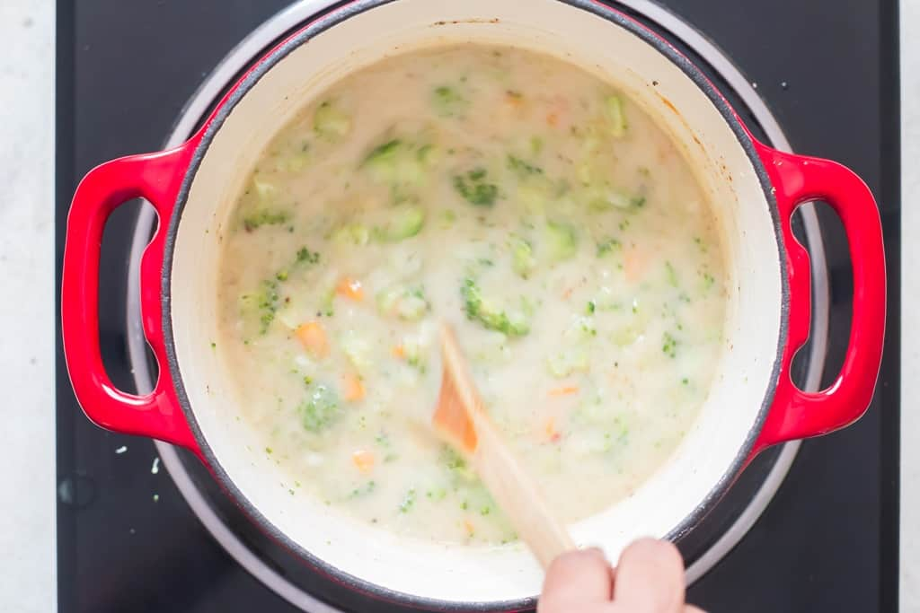 making broccoli cheddar soup recipe