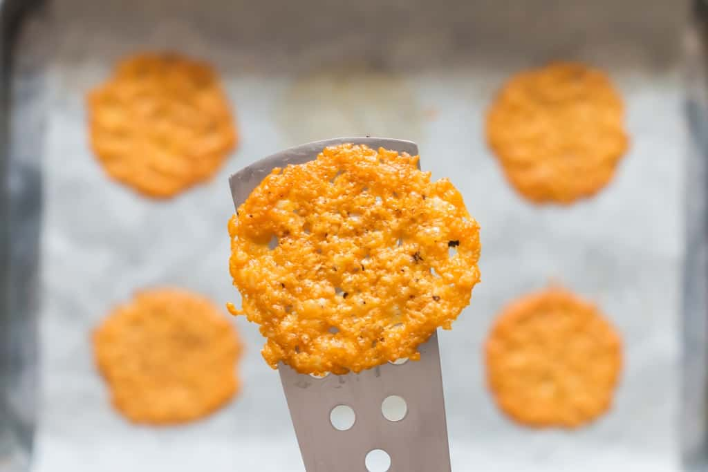 spatula with parmesan crisps
