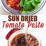 pesto made of sun dried tomatoes in food processor with text