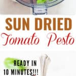 sun dried tomato pesto sauce recipe with text overlay