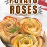 potato roses baked in oven served in dish with tomato ketchup on side overlaying text