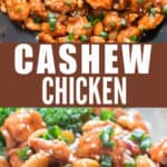 saucy cashew chicken cooked in wok served with rice with text