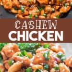 easy cashew chicken made in wok served with rice with text