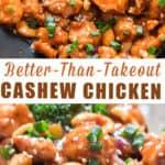 cashew chicken stir fry with text overlay