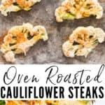 oven roasted cauliflower steaks with text overlay
