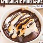 chocolate mug cake served with ice cream in mug with text