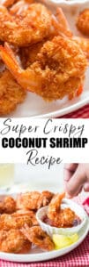 crispy fried coconut shrimp with dipping sauce and text overlay