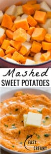 sweet potato mash served with cubes of butter in white bowl with text overlay