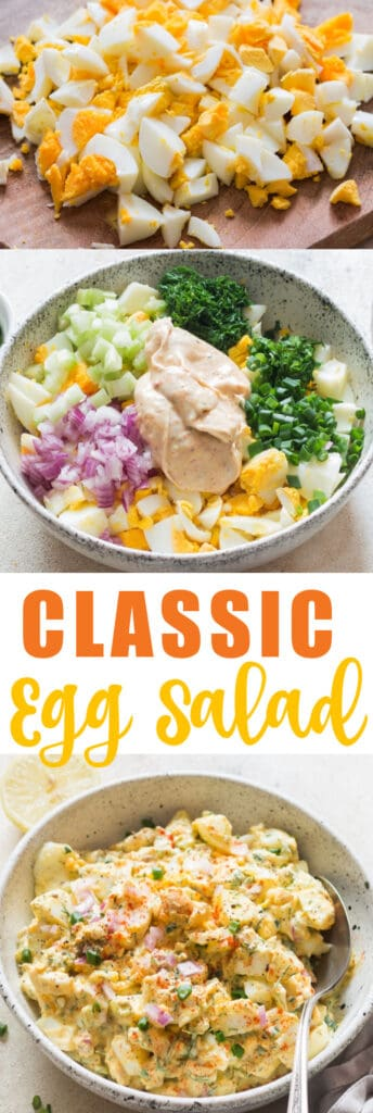 classic egg salad recipe with text overlay