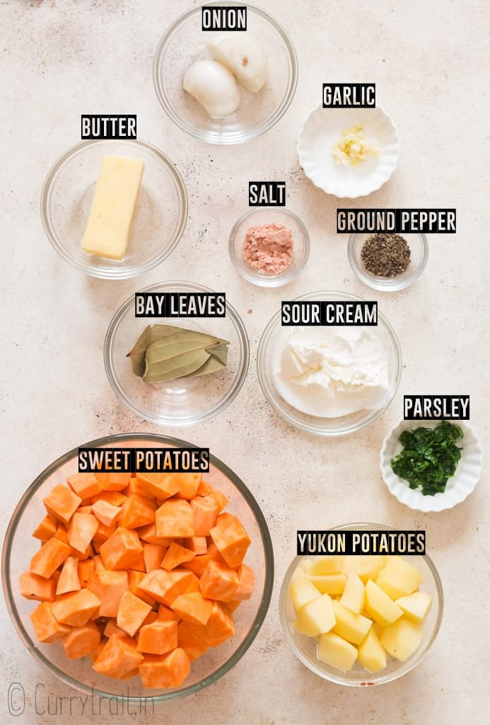 all ingredients needed to make mashed sweet potatoes