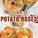 best baked potato roses served in dish with tomato ketchup on side overlaying text