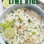 a bowl of cilantro lime rice with lime wedges and circles with text