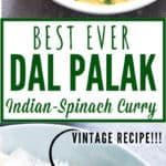 dal palak served in ceramic bowl with text overlay