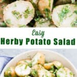 easy herby potato salad served in bowl with text overlay