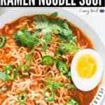 spicy sriracha ramen noodle soup with soft boiled eggs in ceramic bowl with text overlay