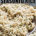 easy seasoned rice recipe with text overlay