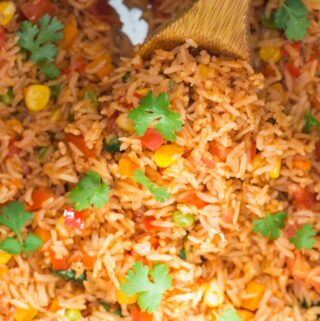instant pot Mexican rice garnished with cilantro