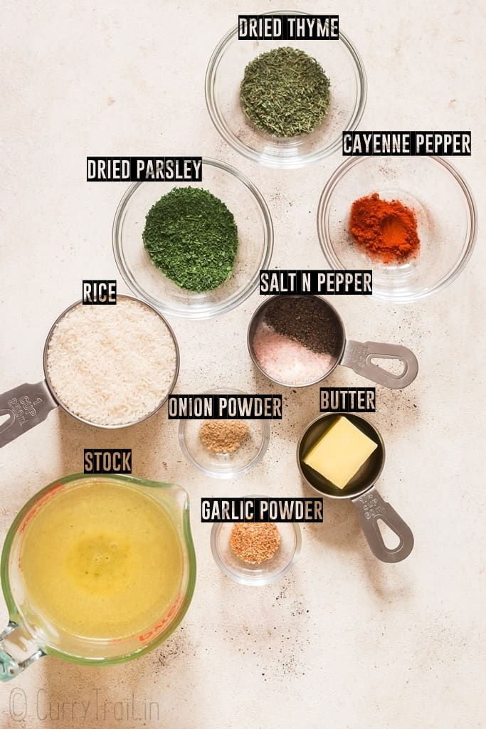 ingredients for seasoned rice on a board