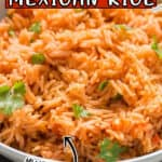 restaurant quality Mexican rice cooked in instant pot served in bowl with text