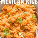 Mexican rice made in instant pot with text overlay