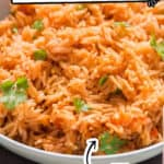 Instant Pot Mexican rice in bowl with text