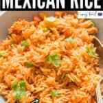 perfectly cooked instant pot Mexican rice served in ceramic bowl with text overlay
