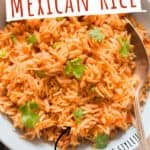 instant pot Mexican rice garnished with cilantro with text overlay