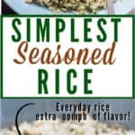 homemade seasoned rice in ceramic bowl with text overlay