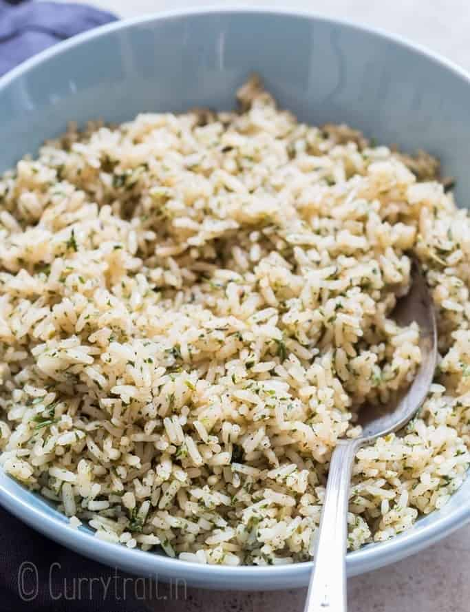 seasoned rice served in ceramic bowl