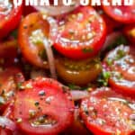 fresh cherry tomato salad in wooden bowl with text