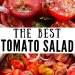 homemade fresh tomato salad in wooden salad bowl with text