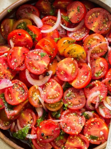 cherry tomato salad in a bowl