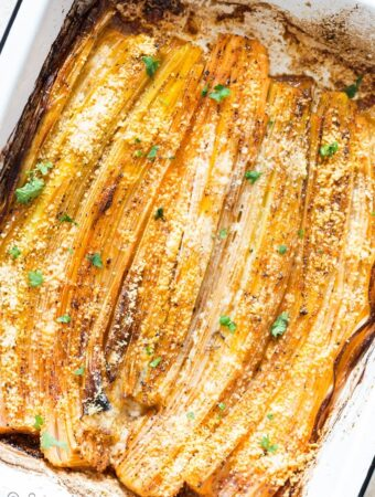 oven roasted leeks with Parmesan cheese