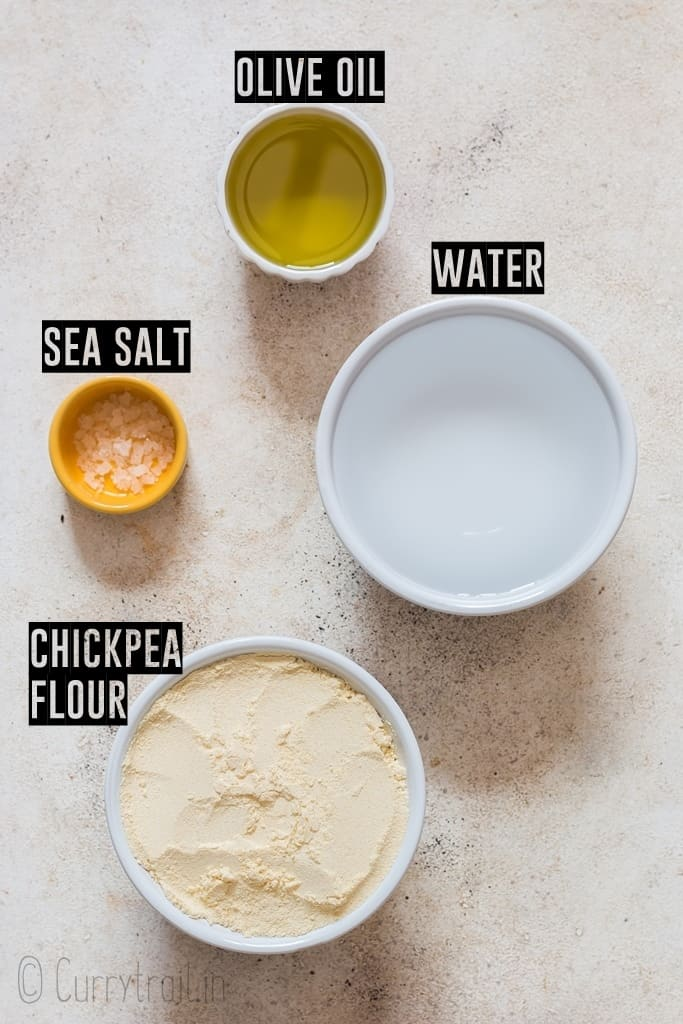 ingredients needed to make socca flatbread